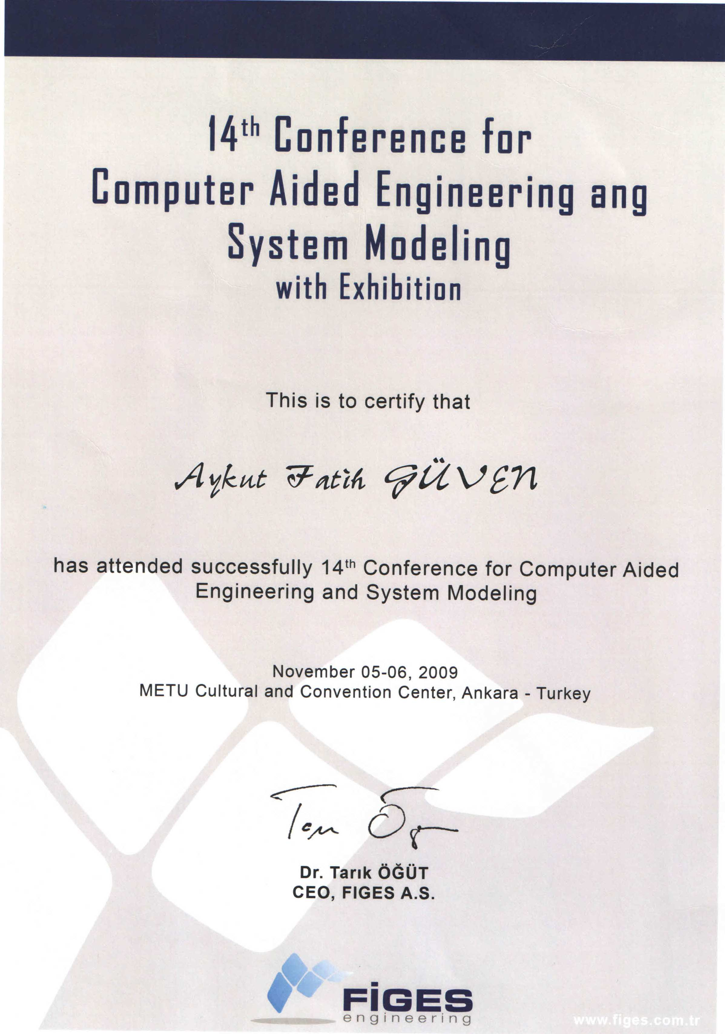 14 th Conference for Computer Aided Engineering and System Modeling with Exhibition Sertifikası